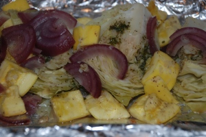 Oven Steamed Cabbage & Summer Squash